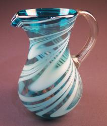 Mexican Glass Pitcher Turquoise and White Swirl Pera 85oz