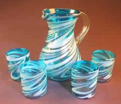 Mexican Glass set pera pitcher with four 12oz tumblers turquoise and white swirl