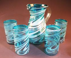 Mexican Glass set pera pitcher with four 18oz tumblers TurquoiseWhite swirl