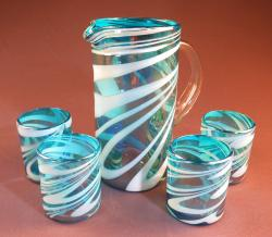 Mexican Glass set straight pitcher with four 12oz tumblers turquoise and white swirl
