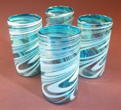 Mexican Glass tumblers set of Four 18oz Turquoise and white swirl Iridescent