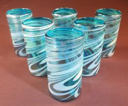 Mexican Glass tumblers set of Six 18oz Turquoise and white swirl Iridescent