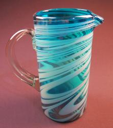 Turquoise & White Swirl Pitcher 80 oz Pera Mexican Blown Glass
