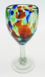 Wine glass hand blown 12oz Confetti Swirl made in Mexico