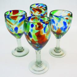 Wine Glasses hand blown 12oz Confetti Swirl  4 made in Mexico