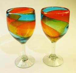 Wine glasses hand blown 15oz tricolor 2 made in Mexico
