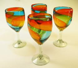 Wine Glasses hand blown 15oz tricolor 4 made in Mexico