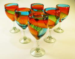 Wine Glass hand blown 15oz Tricolor 6 made in Mexico
