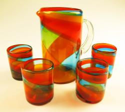 Mexican Glass Set Tricolor 80oz Straight Pitcher 4g12oz