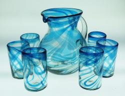 Turquoise Swirl Pitcher set with 6 tumblers 16oz