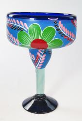 Mexican Margarita Glass XXL 56 oz Painted POP Flowers on Blue