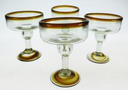 Margarita Glasses, Amber Swirl Base, Set of 4, 12oz