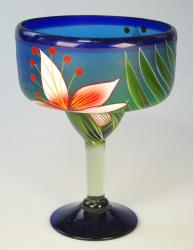 Mexican Margarita Glass 15oz Hand Painted Orchid