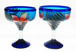 Mexican Margarita Glass 15oz Hand Painted Orchid set of Two
