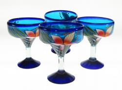 Mexican Margarita Glass 15oz Hand Painted Orchid set of Four
