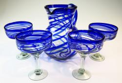 Mexican glass margarita glasses blue swirl pitcher