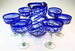 Mexican glass margarita glasses pitcher blue swirl set of 6
