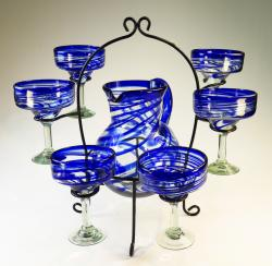 Mexican Margarita glasses Blue Swirl with Matching Pitcher and Display Rack