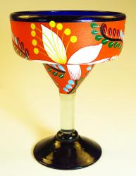Mexican Margarita Glass hand painted pop flower orange