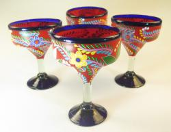 Mexican Margarita Glass Hand Painted Red with flowers, set of 4