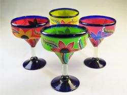 Mexican Margarita Glass 15oz Hand Painted POP Designs Set of Four