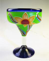 Mexican Margarita Glass 15oz Hand Painted POP Designs Green