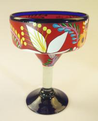 Mexican Margarita Glass 15oz Hand Painted POP Red Designs