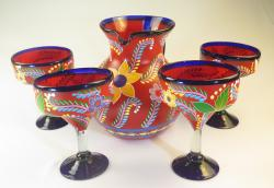Mexican Painted POP RED Pitcher & Four Margarita glasses