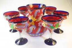 Mexican Painted POP Flowers Pitcher & Six glasses, Red