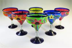 Mexican Margarita Glass 15oz Hand Painted POP Designs Set of Six