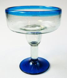 Mexican Margarita Glass Turquoise Rim and Base 12oz