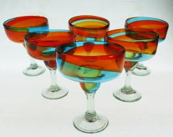 Mexican Margarita Glasses 6g Tricolor 18oz