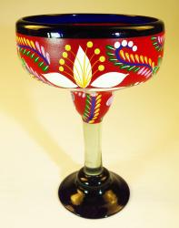 Mexican Margarita Glass XXL 56 oz Painted POP Flowers on RED