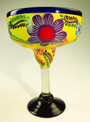 Mexican Margarita Glass XXL 56 oz Painted POP Flowers on Yellow
