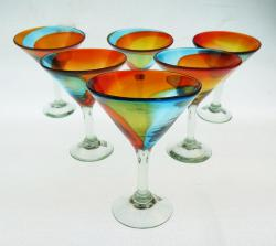 Martini Glasses 10oz Tricolor set of six