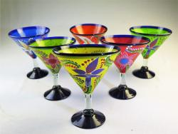 Martini Margarita Glass 15oz Hand Painted POP Designs Set of Six