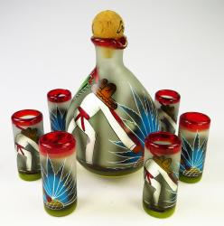 Tequila set red rim poncho 6 shots hand made in Mexico