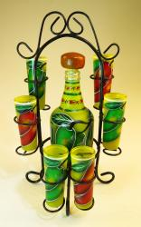 Red and Green Chili Tequila Bottle with six shots in Rack