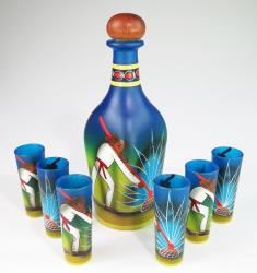 Mexican shot glass set of six shots and matching Tequila bottle Painted Pancho on bluea Set, agave harvest
