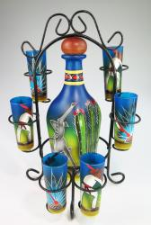 Pancho Agave Tequila Bottle with six shots on blue in Rack