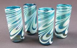 Shot glasses, Turquoise and White Swirl  2oz,  set of four