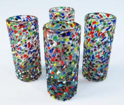 Mexican Shot Glasses Big Pebble Confetti, four