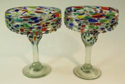 Mexican Margarita Glasses Pebble Confetti Jose set of two