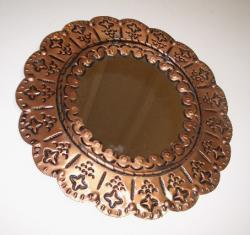 Mirror Round tin art frame in copper color