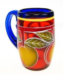 Mexican Glass Mug  16oz  with Painted Fruit