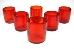 Red Tumbler, Mexican Drinking glasses, Set of Six(6)