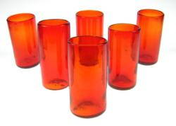 drinking glass hand blown in Mexico red set of 6