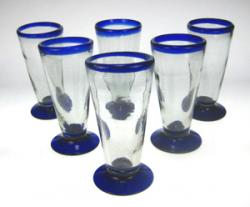 Mexican Pilsner Glasses, Blue rim Set for six