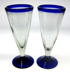 Pilsner Glasses, Blue Rim, Tall, Set of 2