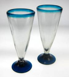Matched Pair of Turquoise-Blue-Rim Pilsner Glasses
